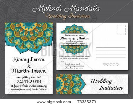Classic vintage wedding invitation card design with beautiful Mandala flower suitable for both traditional and modern trend. Save the date and RSVP postcard template.Vector illustration