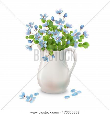 Vector spring bouquet in ceramic jug with fallen petals and flowers on a white background