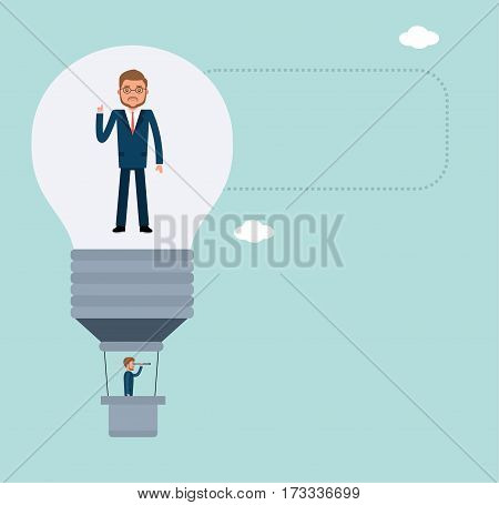 Concept flat vector business illustration. Stock broker. Businessman standing in a hot air balloon ideas and looking through a telescope