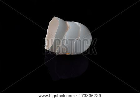 Eggshell On A Black Background Closeup.