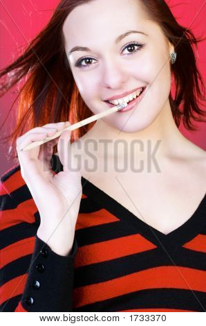 Young Woman With Pencil