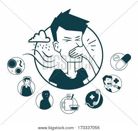 A series of icons on the topic and its treatment prostydy. Icon on medical subjects. Illustration of a funny cartoon style