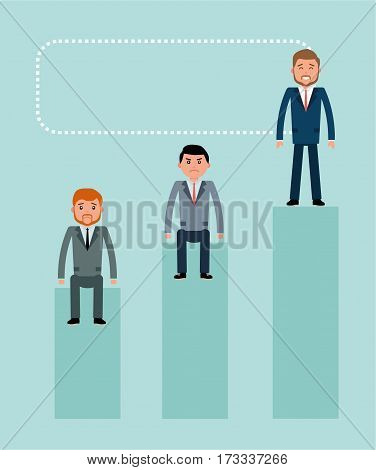 Winner. Young businessman winner standing on the podium the losers unhappy Concept flat vector business illustration.