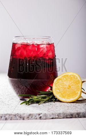 Glass with dark currant or cherry drink
