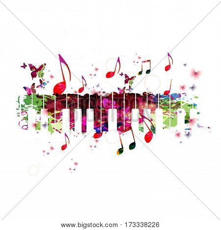 Colorful piano keyboard with music notes. Music instrument background vector illustration. Design for poster, brochure, invitation, banner, flyer, card, music concert and music festival