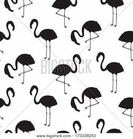 Flamingo silhouette seamless vector texture. Black and white bird stencil pattern.