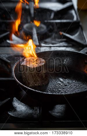 Piece Of Meat In Fire
