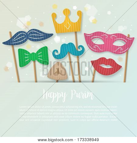 Purim Holiday Banner Design With Cardboard Carnival Mask, Mustache And Crown. Realistic Vector Illus