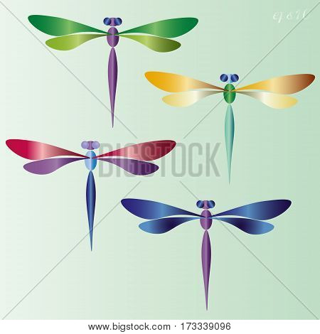 Four dragonfly set Bright summer abdomen insect wing eyes two variegated pattern author decoration design handmade Stock vector illustration