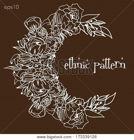 Floral moon flower pattern The new moon of flowers ornament on brown background ethnic flower vector illustration background design Stock