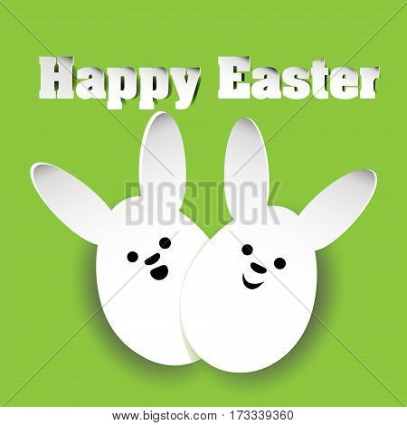 Happy Easter rabbits Two rabbit Easter egg from paper on a green background with a smile and the words happy vector illustration stock background design with shadow