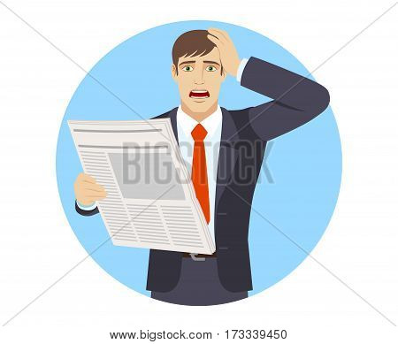 Bad news. Businessman with newspaper grabbed his head. Portrait of businessman in a flat style. Vector illustration.