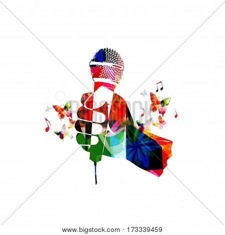 Colorful human hand with microphone. Microphone with music notes background vector illustration. Design for poster, brochure, invitation, banner, flyer, concert, singing, karaoke and music festival