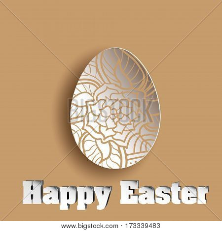 Ornament flower in abstract egg brown Openwork egg cut paper on a brown background with floral element vector illustration happy easter stock background design with shadow