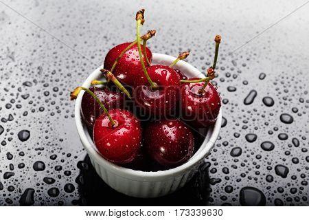 Heap of juicy wet cherries