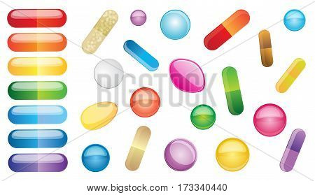 Set multicolored pills isolated on white background