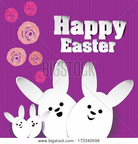 Rabbit family roses happy Easter Family white rabbit eggs and paper on a pink background with stripes with floral element vector illustration happy easter stock background design with shadow