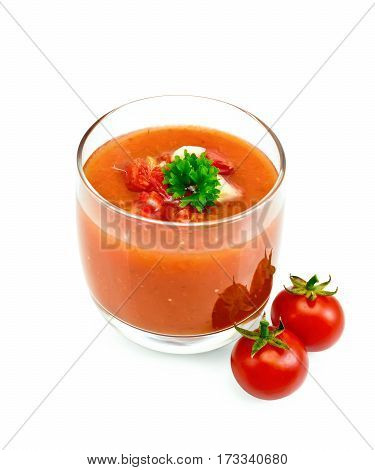 Soup Tomato With Parsley In Glassful