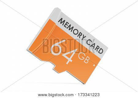 memory card 64 GB 3D rendering isolated on white background