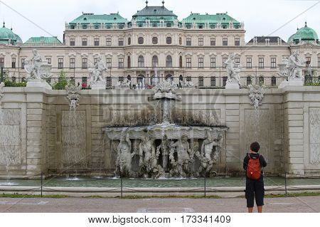 Vienna, Austria - August 27, 2014: Gardens And Fountain Of Belve