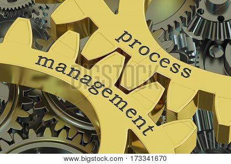 Project Management concept on the gearwheels 3D rendering