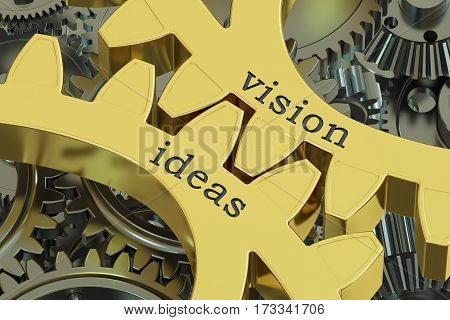 vision ideas concept on the gearwheels 3D rendering