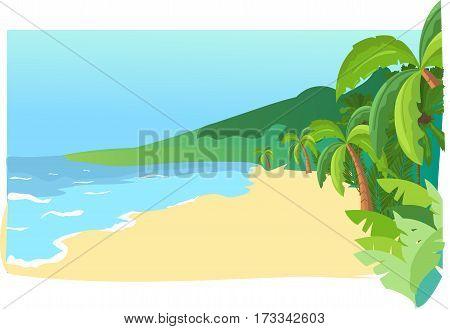 sea shore, sand, beach, palm trees, paradise