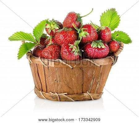 Strawberries in a wooden basket isolated on a white background