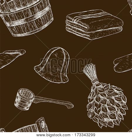 Seamless pattern items for sauna. Hand drawn vector set for bath. Retro set of sketches isolated. Basin ladle towel cap mittens broom in vintage style. Black white image. Vector illustration.