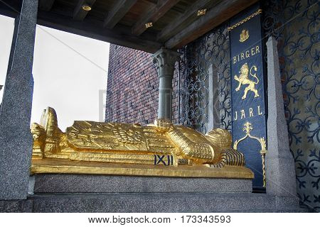 STOCKHOLM SWEDEN - AUGUST 20 2016: Cenotaph of Birger Jarl (Birger Magnusson) c. 1210 - 1266. in the Stockholm City Hall (Stockholms stadshus) in Stockholm Sweden on August 20 2016.