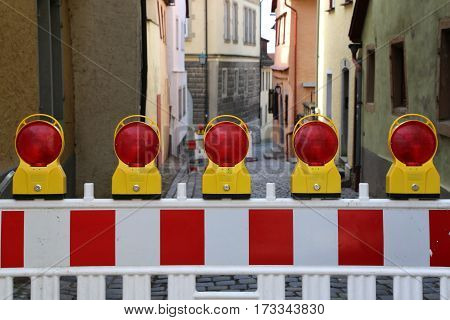 Roadblock / Special fences block off traffic during road repairs