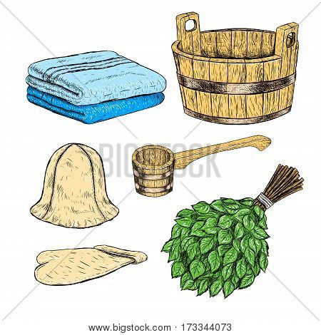 Set for sauna. Hand drawn items for bath. Retro set of sketches isolated. Basin ladle towel cap mittens broom in vintage style. Doodle linear graphic design. Vector illustration.