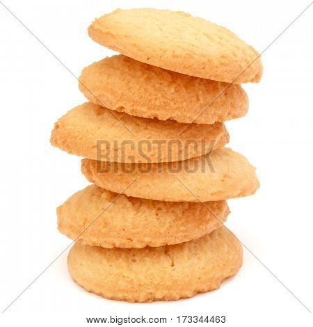 stacked short pastry cookies isolated on white background