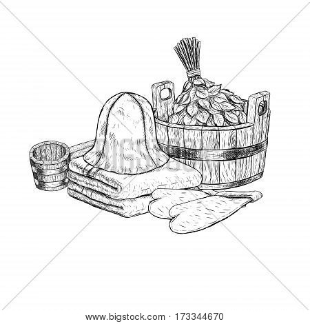 Set for sauna. Hand drawn items for bath. Retro set of sketches isolated. Basin ladle towel cap mittens broom in vintage style. Doodle linear graphic design. Black white image. Vector illustration.