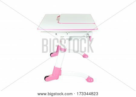 Pink school desk is isolated on a white background