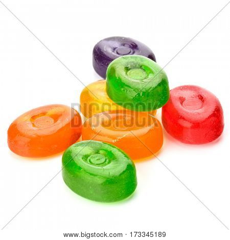 colorful fruit hard sugar candies,  boiled sweeties or sugar plums isolated on white background cutout