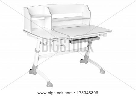 gray school desk is isolated on a white background