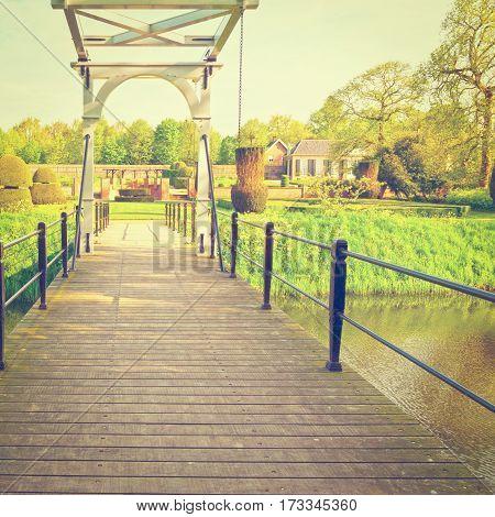 Drawbridge over Canal in the Park Netherlands Instagram Effect