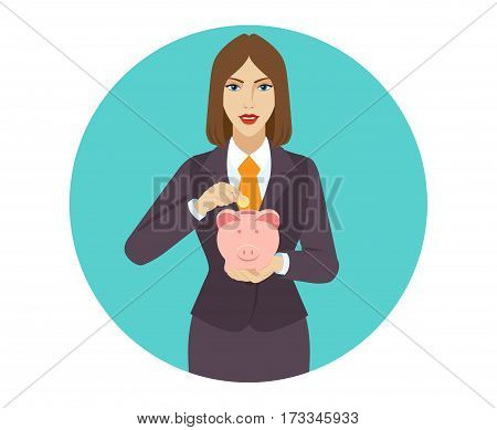 Businesswoman puts coin in a piggy bank. Portrait of businesswoman in a flat style. Vector illustration.