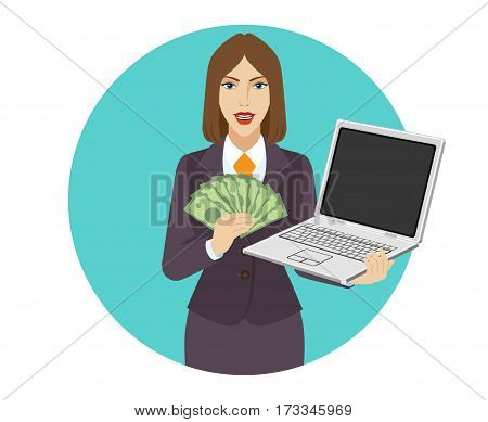 Businesswoman holding a laptop notebook and showing a money. Portrait of businesswoman in a flat style. Vector illustration.