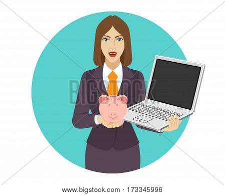 Businesswoman holding a laptop notebook and piggy bank. Portrait of businesswoman in a flat style. Vector illustration.
