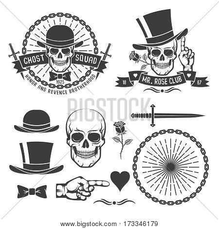 Hipster retro gangster emblem with a skull in an old hat with daggers rose chains and ribbons. As well as some vintage design elements. Vector illustration.