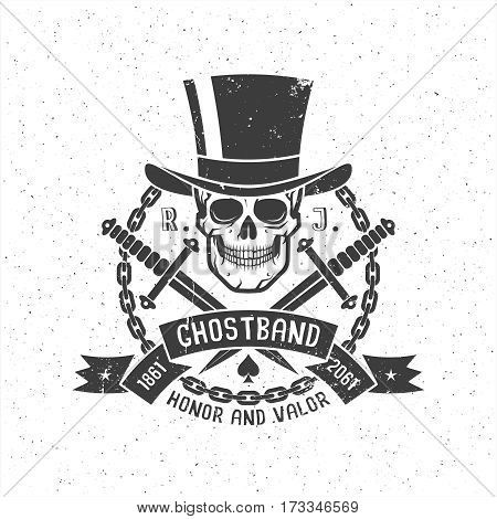Hipster retro tattoo logo with skull in cylinder hat with daggers ribbon and chain. Grunge texture on separate layers and can be disabled.