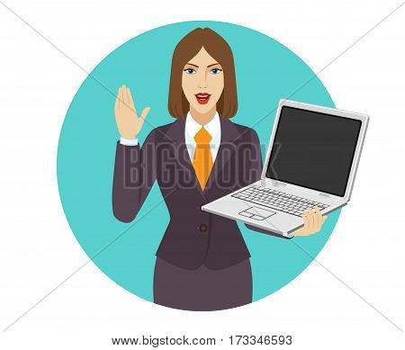 Businesswoman holding a laptop notebook and greeting someone with his hand raised up. Portrait of businesswoman in a flat style. Vector illustration.