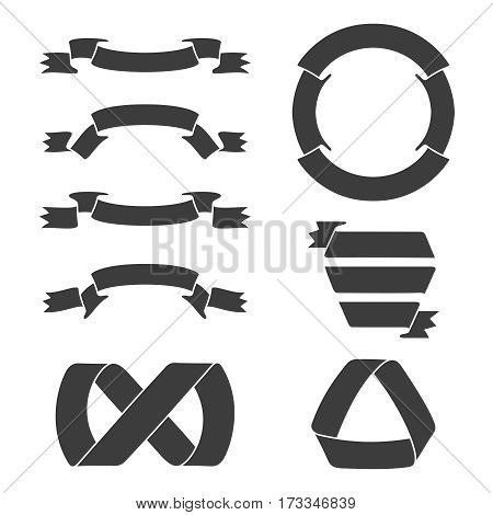 Black ribbon banners including circular for logo and emblems in stamp design. Vector illustration.