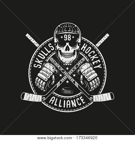 Hockey logo mascot with skull in a helmet circular banner and crossed sticks on a black background. For team or league. Vector illustration.