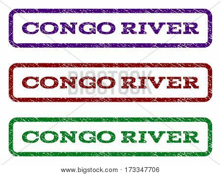 Congo River watermark stamp. Text caption inside rounded rectangle frame with grunge design style. Vector variants are indigo blue red green ink colors. Rubber seal stamp with unclean texture.