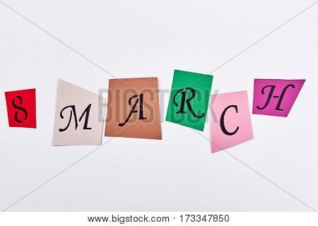 Coloured cards with letters. Greeting for dear mom.