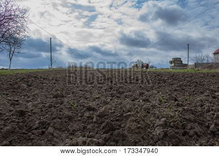 Early spring plowed field ready for planting