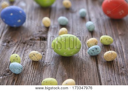 Colorful Easter Eggs Old Wooden Board
